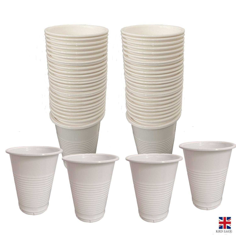 Tazas De Plástico Blanco máquina expendedora de agua potable Desechables Fiesta Vajilla UK
