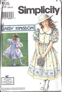 UNCUT-Simplicity-Vintage-Sewing-Pattern-Girls-Daisy-Kingdom-Dress-Doll-7005