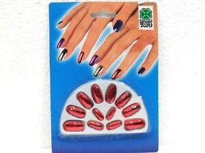 Halloween Accessori-unghie Finte Colore Rosso 12 X Adattare La Misura + Giusta