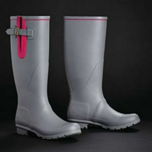 HARRY HALL TEX WELLINGTONS BRINSWORTH GREY PINK - SIZE 8 - HHL6565