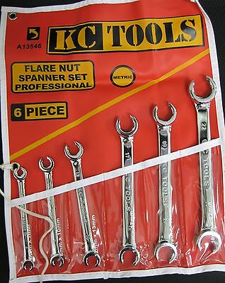 KC Tools - 6PC Flare Nut Metric Spanner Set 6mm - 22mm (Chrome) A13546