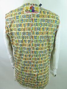 Robert-Graham-Men-039-s-Cotton-Colorful-Lining-Beige-Blazer-Jacket-Sport-Coat-Medium