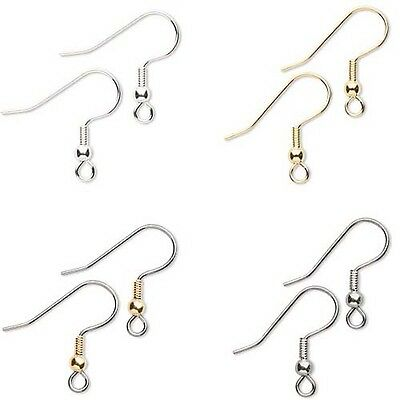 "Lot of 100 Surgical Steel Ball & Coil 3/4"" Fishhook Earwire Earring Findings"