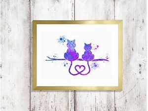 cats-in-love-Watercolor-a4-glossy-Print-nursery-picture-image-poster-UNFRAMED