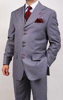 Men's Formal Regular Fit 3-piece Suit Six Button Solid Color Jacket, Gray