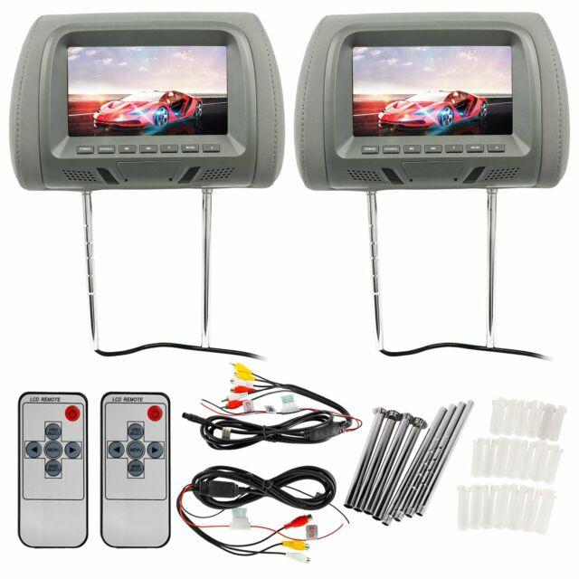"Pair Rockville RHP7-BG 7"" Beige TFT-LCD Car Headrest TV Monitors w// Speakers+IR"