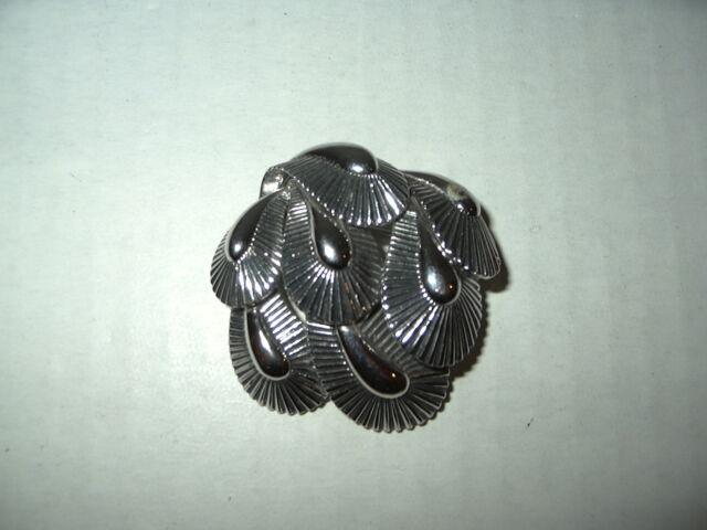 Vintage Estate 50's Signed BOUCHER Silvertone Flower Leaves Brooch Pin