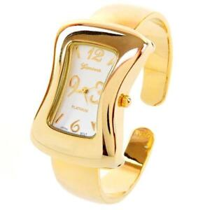 Gold-Melting-Shape-Case-Small-Size-Women-039-s-Bangle-Cuff-Watch