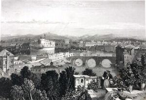 Rome-TIBER-RIVER-CASTEL-SANT-039-ANGELO-MAUSOLEUM-HADRIAN-1833-Art-Print-Engraving