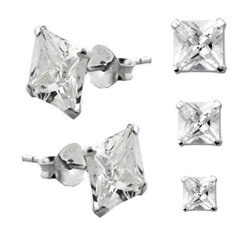 925 Sterling Silber Ohrstecker 1 Paar Hip Hop Ohrringe Zirkonia Ø 6mm 10mm