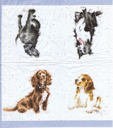 PAPER NAPKINS DOGS COLLECTION SERVIETTES EN PAPIER CHIENS DE COLLECTION RACES