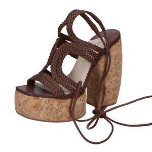 scarpe-donna-PALOMA-BARCELO-039-36-EU-sandali-marrone-pelle-BR742-36