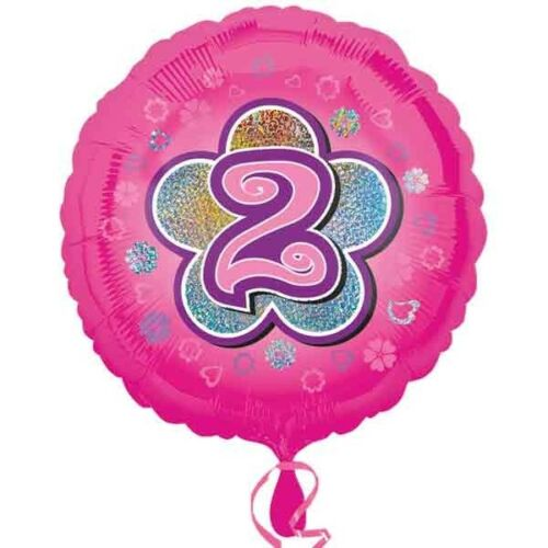 cumpleaños número 2 en flor 35cm rosa Folieballon al 2