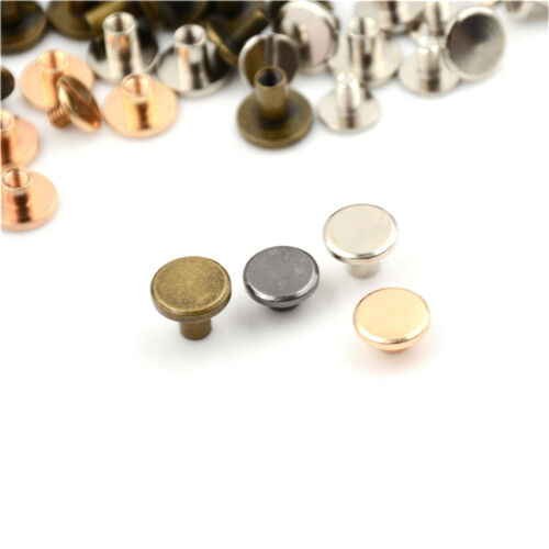 10set Flat Head Brass Solid Stud Screw Nail Rivets Leather Craft Wallet Belt  LL