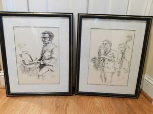 Details About Pair Of Jazz Musicians Framed Lithograph Bill Waitlip Pen And Ink Drawings