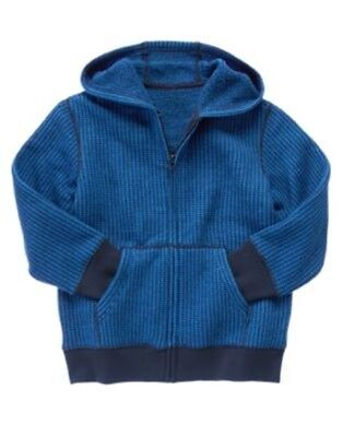 GYMBOREE KING OF COOL BLUE SWEATER FLEECE CARDIGAN HOODIE 4 5 6 7 8 10 12 NWT