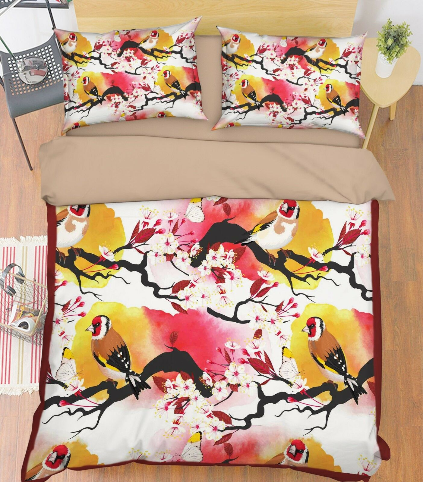 3D Bloom Bird 4 Bed Pillowcases Quilt Duvet Cover Set Single Queen King AU Carly