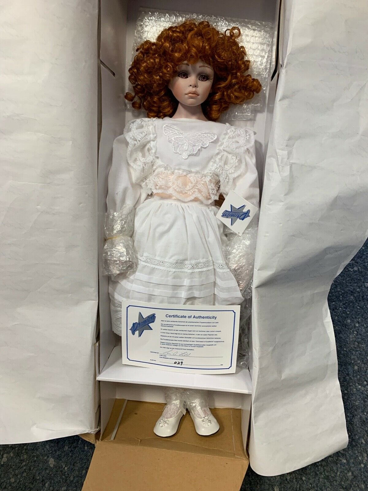 Bambola D'Autore Porcellana 73 Cm. Conf. Orig. & Zertifikat. Ottime Condizioni
