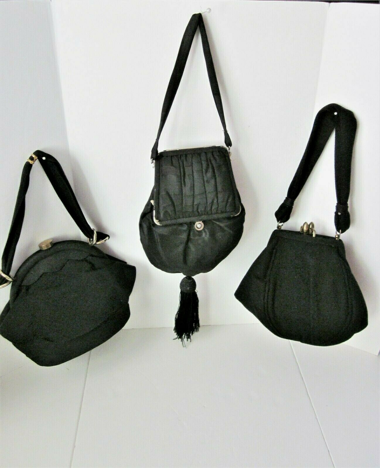 3 Vintage Black 1940's-50's Evening Bags with Coin Purses, Taffeta, Satin & Wool