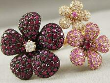 FANCY DIAMOND RUBY PINK SAPPHIRE 18KT Y GOLD TRIPLE PUFF FLOWER RING RG9345KDRPS