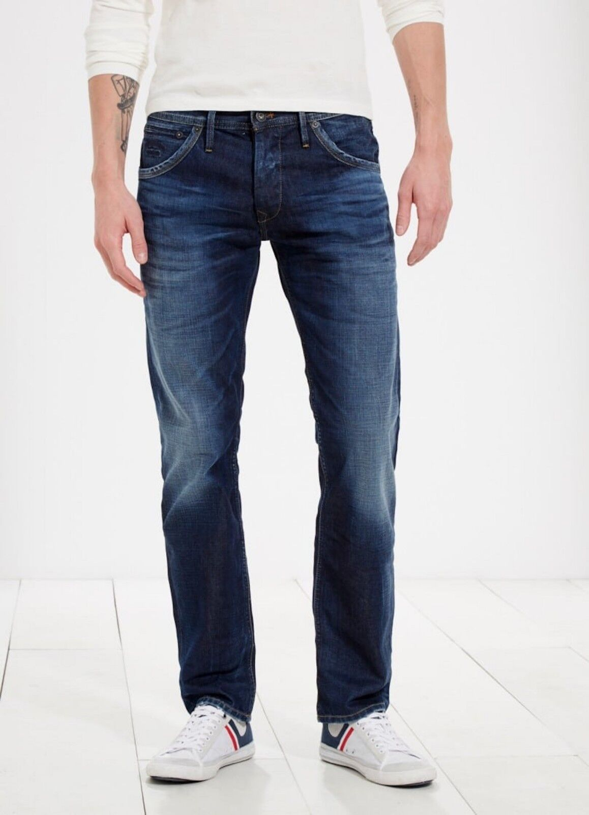 BNWT PEPEJEANS  HOXTON  STRAIGHT FIT LOW WAIST blueE STRECH JEANS - W40  X L36