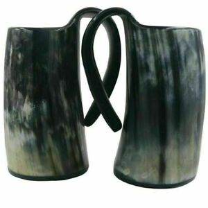 Original Viking Drinking Horn Tankard With Horn Shot Glass Authentic Horn Mug