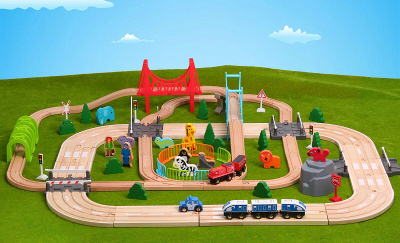 Holz 100 + St.Beschäftigt Straße & Zug Set Bahntrasse Spielzeug Spielzeug Spielzeug Brio Bigjigs 2fa5bc