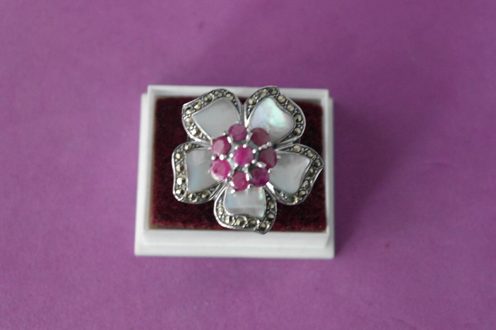 Bonito silver 925 Anillo Con Marcasita - rubí - Madre Perla size N - O - P - Q