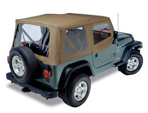 Soft Top Jeep >> Jeep Wrangler Tj Dark Tan Replacement Soft Top W Tinted Windows Ebay