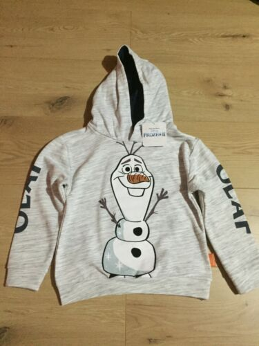 BNWT BOYS GREY PRIMARK FROZEN 2 OLAF HOODIE AGE 4-5 YEARS