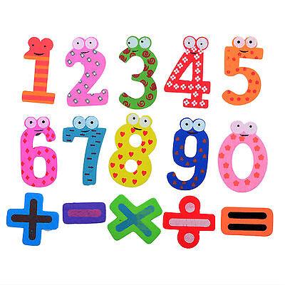 15pcs Wooden Magnetic Fridge Magnet Number Alphabet Letter Educational Kids Toys