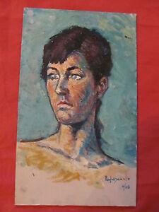 Grossartige-Ol-Expressionistisch-von-Angel-Garcia-Lapuyade-Portraet-Von-Frau-039-039