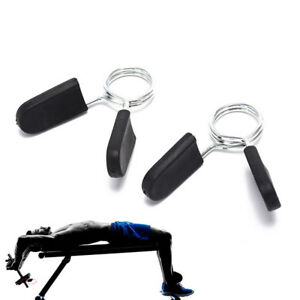 2PC-schwarze-25mm-Feder-Klemm-Klammern-fuer-Gewichts-Hanteln-FitnessgeraeteW-ML