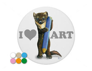 I-Love-Art-Artist-Pine-Marten-with-Pencil-pin-badge-7-7cm-diameter
