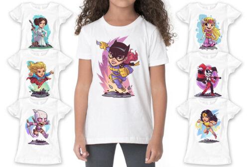 Superhero Characters Retro Kids Girl Quality T-shirt