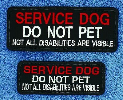 Service Dog Do Not Pet Not All Disabilities Visible Patch 2X5 1.5X4 Danny LuAnn