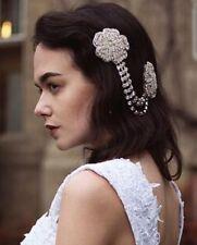 Vintage Headpiece Rhinestone Flower Hair Clip Headdress 1920s Bridal Flapper R18