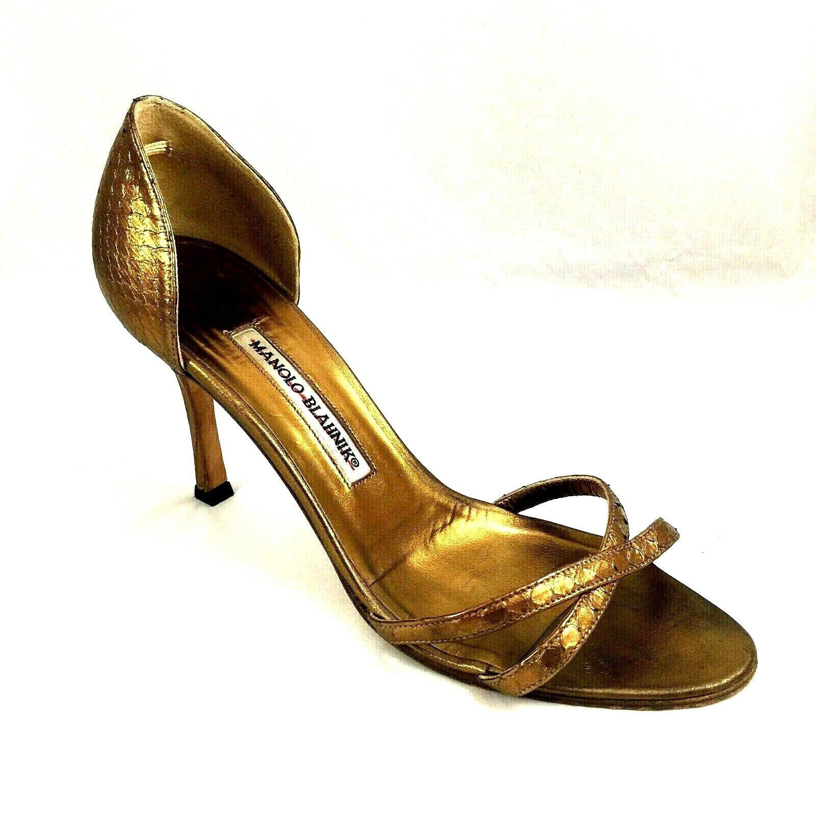 Manolo Blahnik DYNA Sandal Criss Cross Strappy Open Toe Snake Bronze oro Leathe