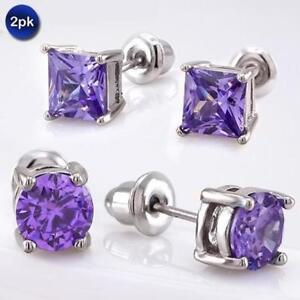 [2-Pack] Cubic Zirconia Earring Studs - 3 Colors