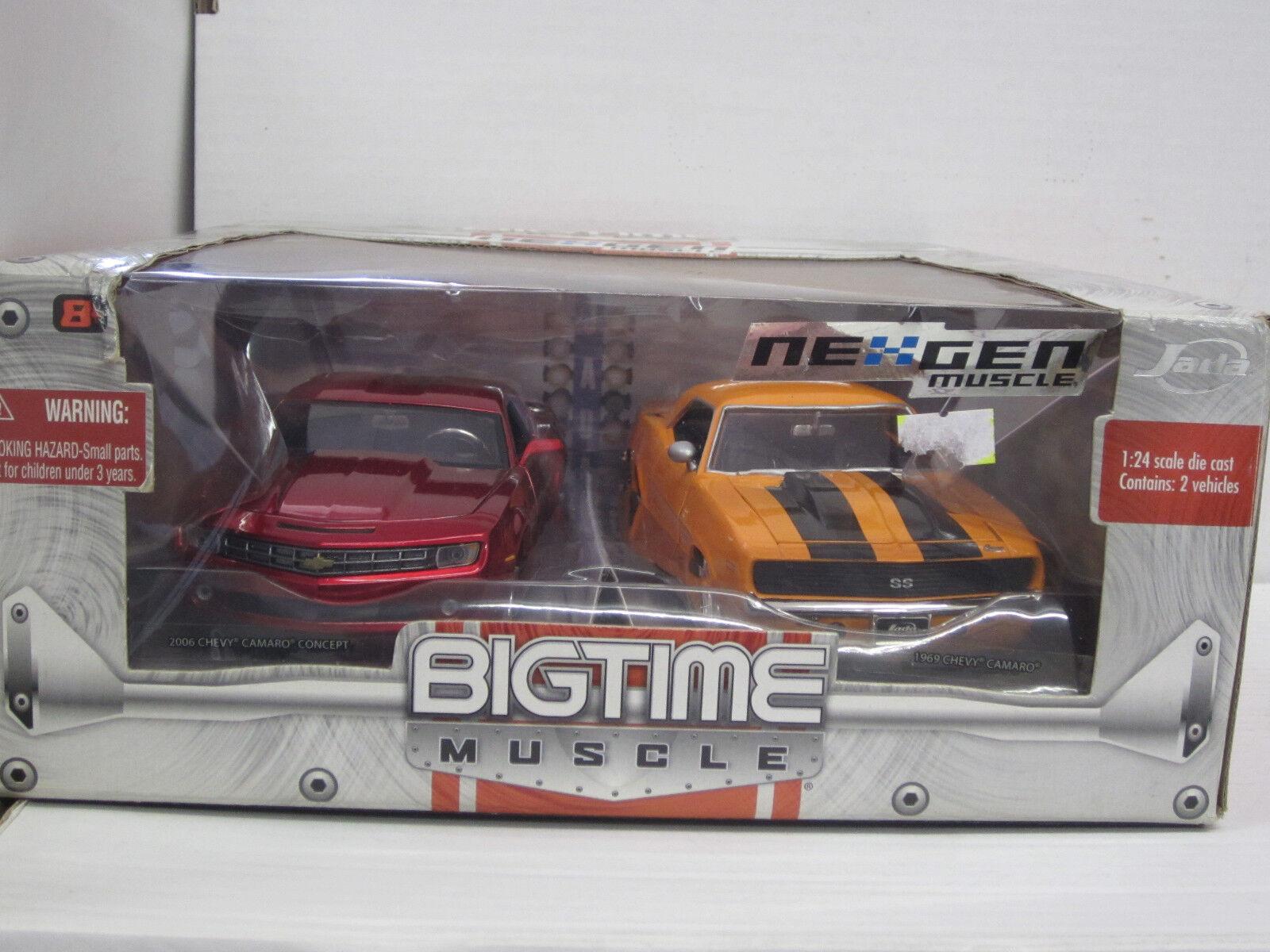 2x Chevrolet Chevy Camaro, 1969 et 2006, Jada Big Time NexGen Muscle, neuf dans sa boîte, 1 24