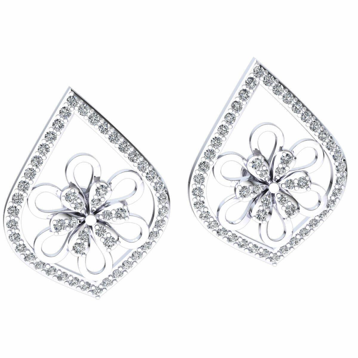 Genuine 0.8ct Round Cut Diamond Ladies Halo Flower Earrings Solid 10K gold