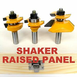 3pc-Shaker-Raised-Panel-w-Back-Cutter-amp-Shaker-R-amp-S-Router-Bit-Set-S