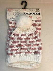 55a7dbc07c2 Details about JOE BOXER Women's Knit Scarf and Hat with Pom Pom Pink/White  Striped BRAND NEW
