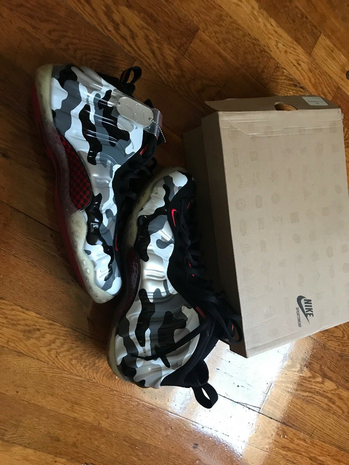 NIKE AIR FOAMPOSITE ONE PRM Size 12 Black Red Grey Fighter Jet 575420 001 NIB DS