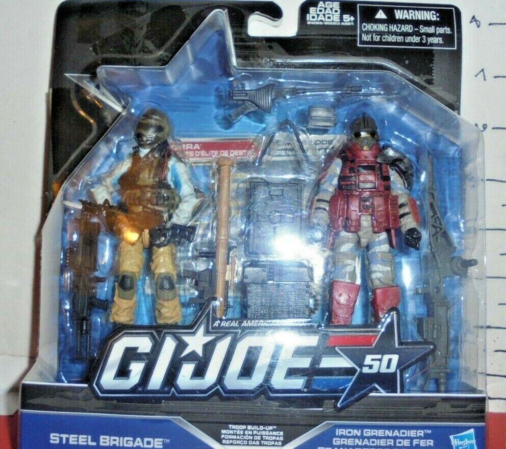 VHTF MIP 2 PK STEEL BRIGADE & IRON GRENADIER 50TH 1 18th scale G.I Joe Cobra