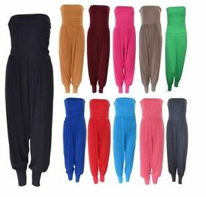 102d3c51aa3 New Womens Ladies Strapless Bandeau Boob Tube Harem Jumpsuit Plus ...