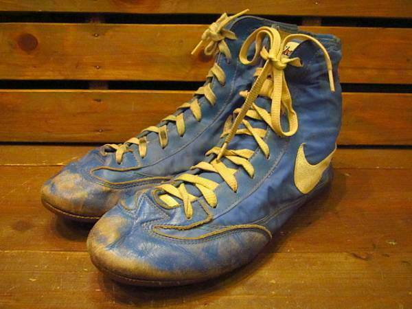 NIKE Vintage Sneakers shoes bluee Yellow Men's Size 10 1 2 70's Fashion