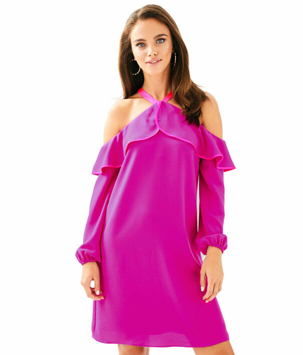LILLY PULITZER 10 ABRIELLE SUNNY SHOULDERED DRESS BERRY SANGRI 28117  NWT
