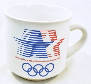 1984-Los-Angeles-Olympic-Coffee-Cup-Mug-Papel-Stars-New-never-used