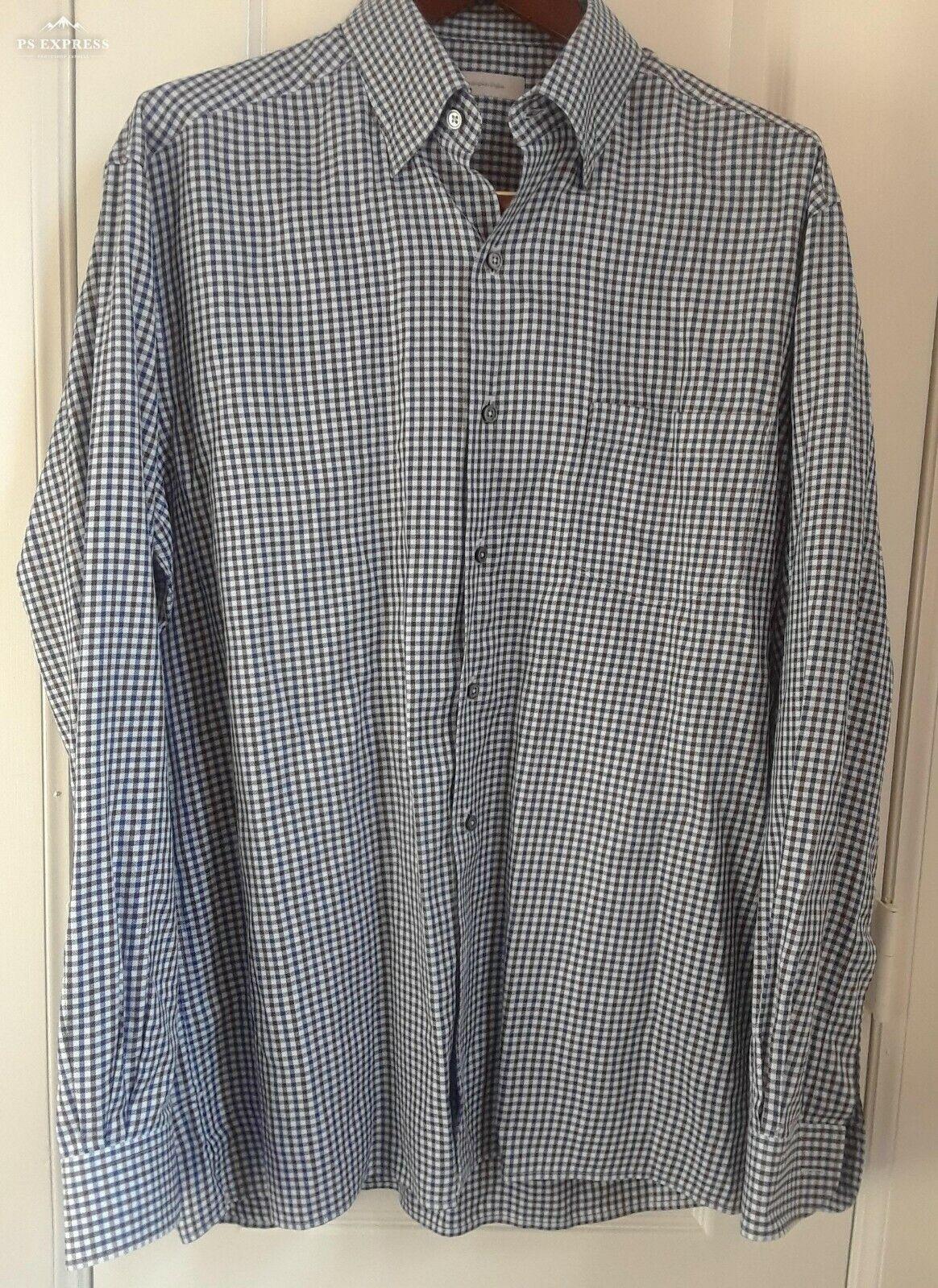 ERMENEGILDO ZEGNA bluee Brown Gingham Long Sleeve Shirt Size XL  P107